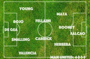 A Manchester United XI vs Southampton with Mata and Falcao starting